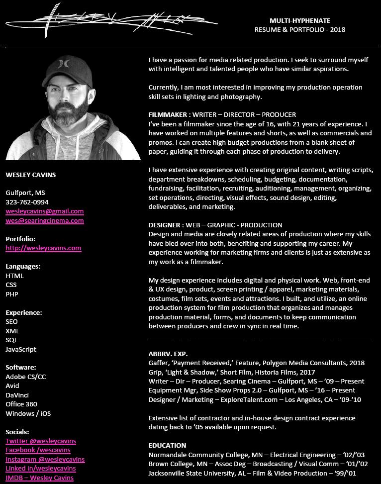 Resume « Wesley Cavins • Filmmaker – Designer – Photographer